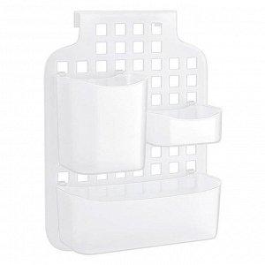 Органайзер Органайзер навесной с контейнерами  БЕЛЫЙ. Состоит из основы (крупной сетки) и трех контейнеров разного размера.  Основа навешивается на любой кронштейн, дверцу шкафа, перегородку душа или