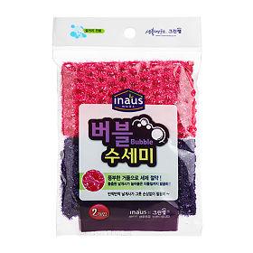 Мочалка-сетка для мытья посуды розовая+фиолетовая (жесткая)