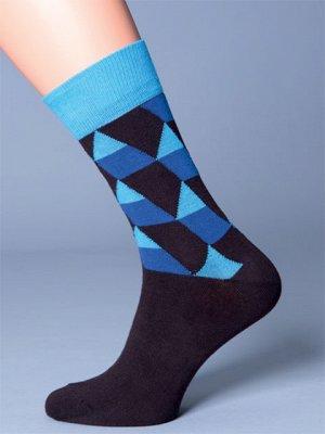 """Носки Мужские фантазийные носки из хлопка с эластаном, резинка контрастного тона, принт \""""геометрические фигуры\"""""""" на верхней части.Хлопок 76%, Полиамид 22%, Эластан 2%"""""""