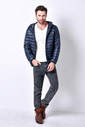 ультралегкая мужская куртка с капюшоном, цвет темно-синий