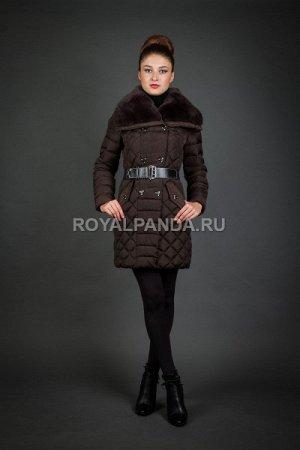 Женская куртка зимняя 15672 шоколад натуральный мех