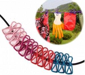 Универсальная веревка для сушки белья с прищепками