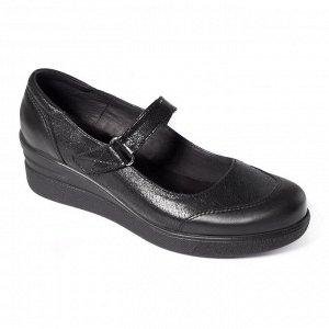 Туфли летние женские, черный нубук