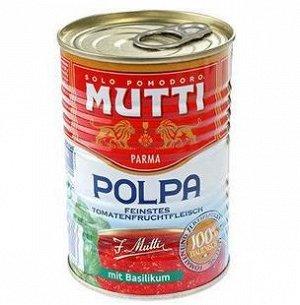 Томаты резаные кубиками в томатном соке с базиликом MUTTI, жест. банка, 400гр
