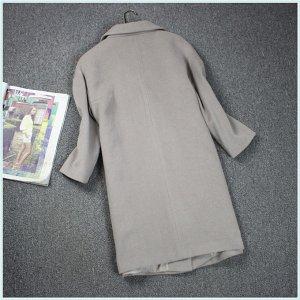 Пальто с асимметричной застежкой Цвет: СЕРЫЙ