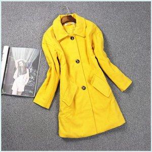 Пальто с отложным воротником Цвет: ЖЕЛТЫЙ ИМБИРЬ