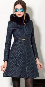 Стеганое пальто с воротником из искусственного меха Цвет: ТЕМНО-СИНИЙ