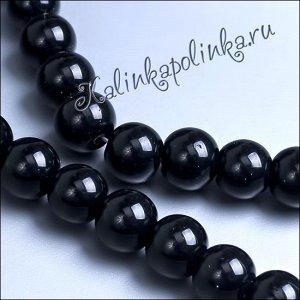 Бусины хрустальные черные глянцевые непрозрачные, без гранения, диам. 8мм., в нитке 48 бусин.
