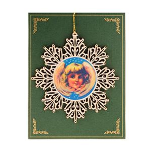 """Декоративное украшение для раскрашивания """"Снежинка с ангелом"""", дерево, 11х11см"""