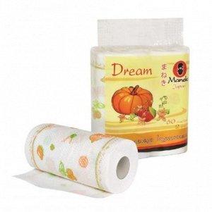 """Полотенца кухонные бумажные """"Maneki"""" Dream 2 слоя, 60 л., белые с рисунком, 2 рулона/упаковка"""