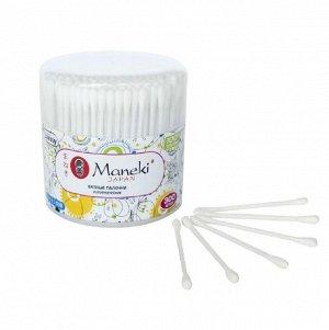 """Палочки ватные гигиен. """"Maneki"""" Lovely, с белым пластик. стиком, в пластиковом стакане"""