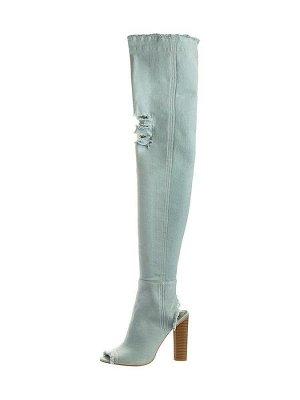 Крутые джинсовые сапоги-ботфорты Betsy, цвет светло-голубой.
