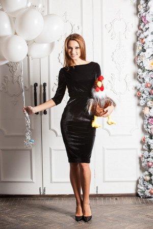 Платье KYROCHKI-NA из бархата чёрного цвета на атласной подкладке