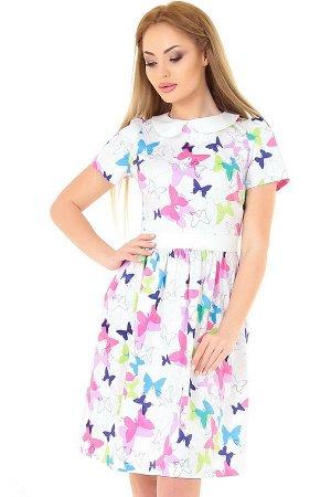 Платье 2559.9 белое с малиновым