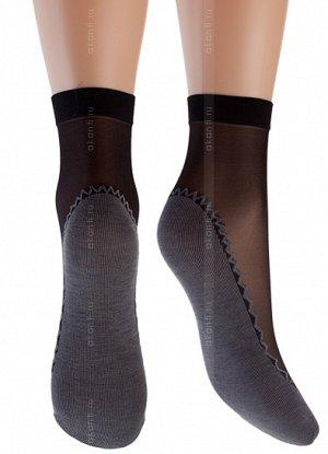 Носки Тонкие прозрачные эластичные носочки с имитацией хлопкового подследника 20 ден. 1 пара в упаковке.