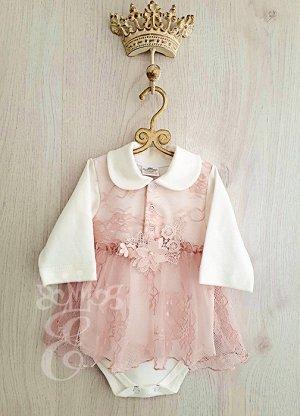 Боди длинный рукав розовое кружево цветы 873-БдР