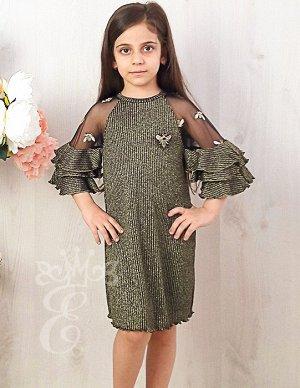Платье трапеция Рукава с воланами 817-ПЧ