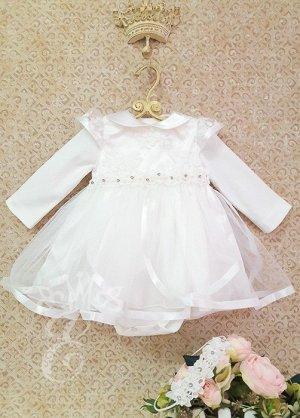 Платье кружевное Юбка лепестками Боди Ободок 822-3ПО