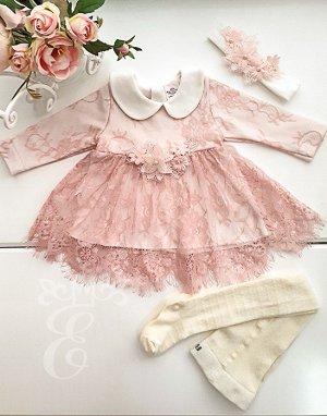 Платье кружевное Ободок Колготки Аппликация цветы 871-3П