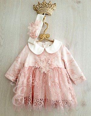 Платье кружевное Ободок Аппликация цветы 871-ПО