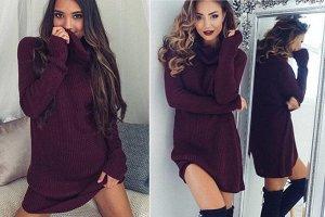 Платье-свитер цвет: КРАСНОЕ ВИНО