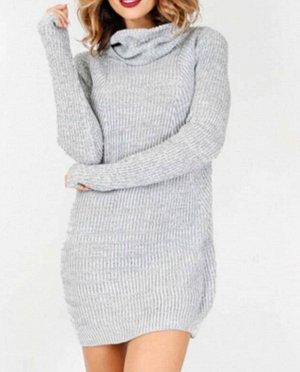 Платье-свитер цвет: СЕРЫЙ