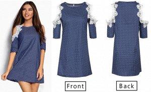 Платье цвет: СИНИЙ В БЕЛЫЙ ГОРОХ