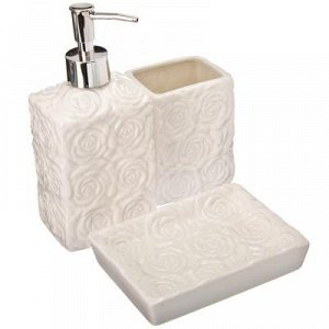 """VETTA Набор для ванной 3 пр., керамика, """"Розы"""", белый"""