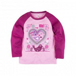 Лонгслив (футболка) 'Клюква' для девочки р.116