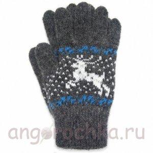 Темно-серые шерстяные перчатки с оленями - 400.159