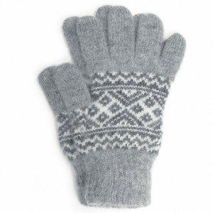 Вязаные мужские шерстяные перчатки с рисунком - 400.148