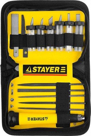 """Набор STAYER Нож """"MASTER"""" для точных работ в комплекте с лезвиями различной формы и надфилями"""