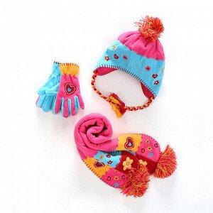Комплект Шапка+шарф+перчатки, материал - микрофлис