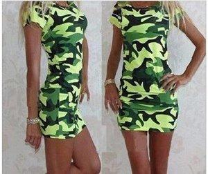 Платье-футболка цвет: ЗЕЛЕНЫЙ (камуфляж)
