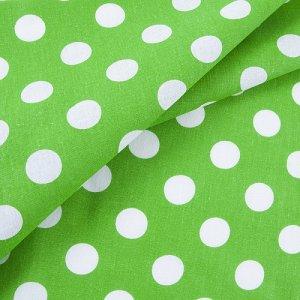 Ткань бязь плательная 150 см 1422/7 зеленый фон белый горох