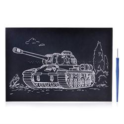 "Гравюра ""ТАНК Т-34"" серебро, арт.Р186"