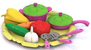 """Набор овощей и кухонной посуды """"Волшебная Хозяюшка"""" (12 предметов на подносе) 624 (1/15)"""