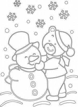 "Трафарет ""Снеговик с мишкой"" A4 арт.343"