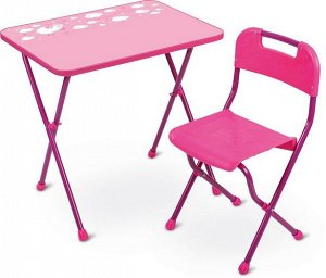 """Набор мебели """"Алина"""" (стол+стул ЛДСП), розовый Высота стола 58см тм NIKA"""