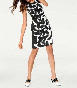 Платье-футляр, черно-белое