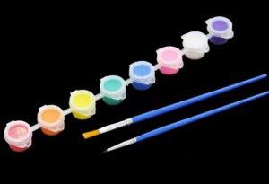 Акриловые краски 8 цветов + 2 кисти