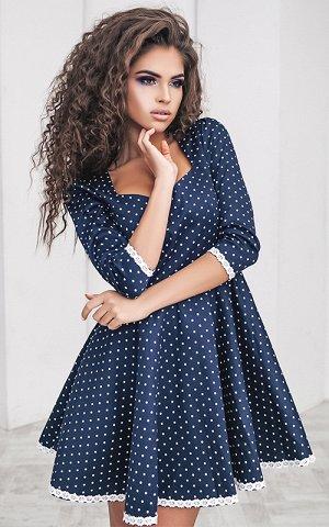 Платье Описание: –Размер:42 –Цвет:тёмно-синий/горошек –Материал:коттон, льняная лента –Страна-производитель товара:Украина –Длина:Короткие