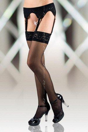 Секси Чулки с кружевной резинкой и поясом черные-XL