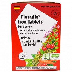 Железо Flora, Floradix Железо, 120 таблеток. Витаминная добавка Формула железа и витаминов на основе трав Помогает поддерживать здоровый уровень железа Отзыв: Состав несколько отличается от жидкого, н