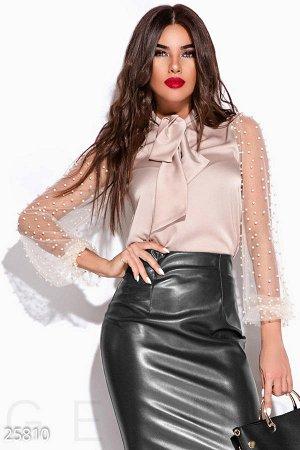 Блузка пудра светло розовая шелковая новогодняя вечерняя нарядная!!! Ультрамодно!