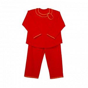 Пижама Легкая пижамка для девочки выполнена из однотонного трикотажа свободного кроя. Комплект состоит из кофточки и брюк. Украшением служат небольшой принт, ассиметричная застежка на кофточке. Рукава