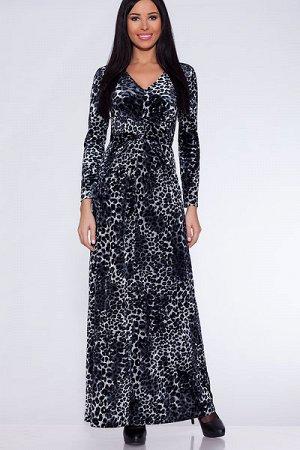 """Платье 305 """"Велюр цветной"""", серый/леопард"""