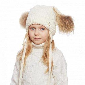 Storms. Kotik  Полноразмерная Тёплая зимняя шапка с натуральными бумбонами