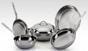 Набор сковородок и пароварка из нерж.стали (3PLY)