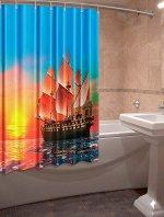 Штора для ванной комнаты Алые паруса (оксфорд, 1,48 х 1,80) +/- 3см